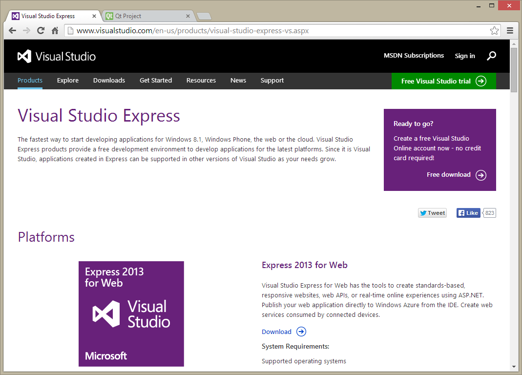 Microsofts Visual Studio Express webpage