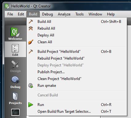 Qt Creator Build menu