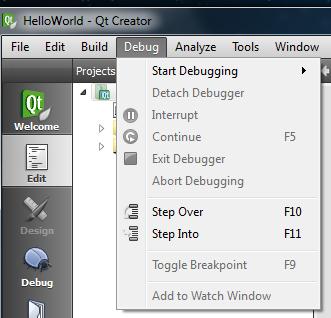 Qt Creator Debug menu