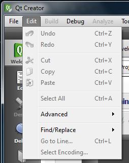 Qt Creator Edit menu