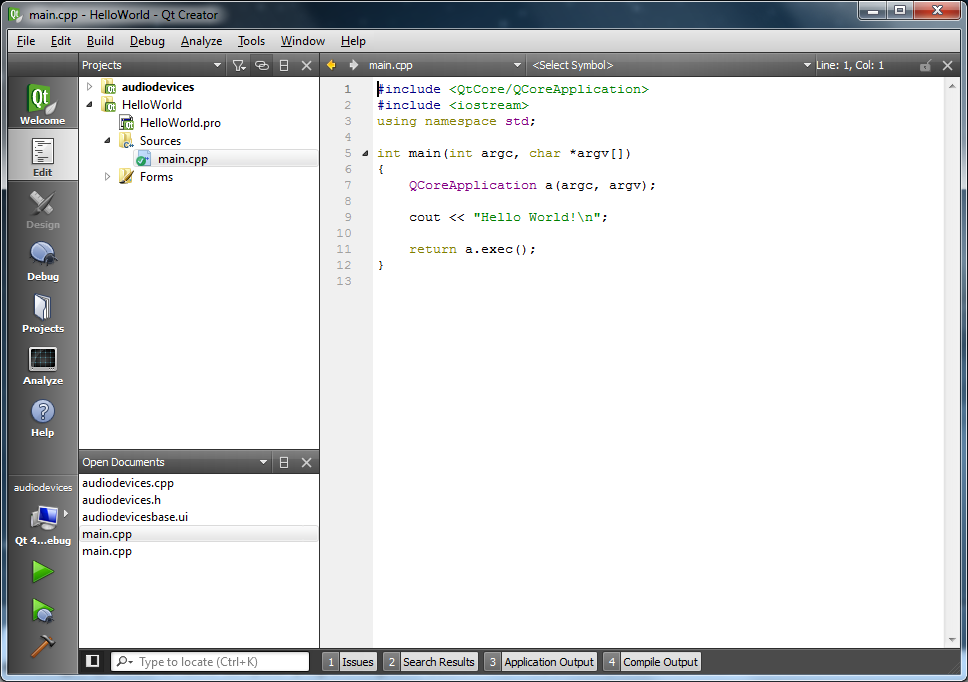 Writing a simple program with qt creator ide