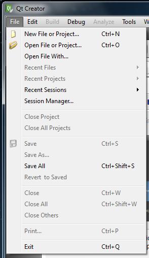 Qt Creator File menu