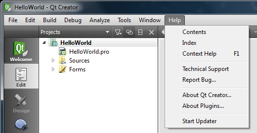 Qt Creator Help menu