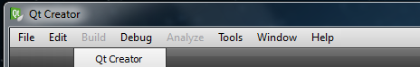 Qt Creator main menu bar