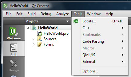 Qt Creator Tools menu