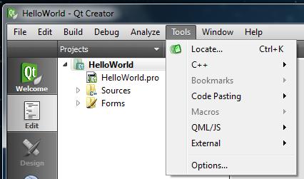 Qt Creator Tools menu
