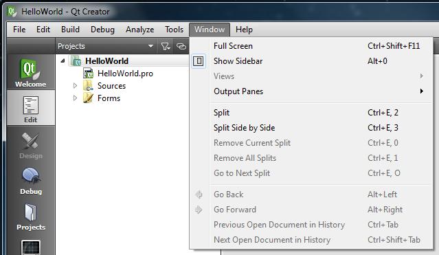 Qt Creator Window menu