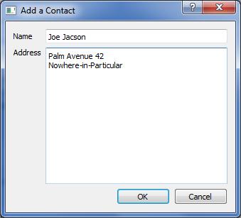 Screenshot of add contact dialog in addressbook example program