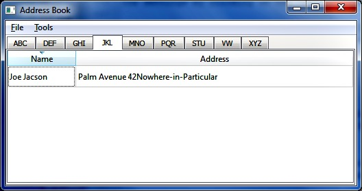 Screenshot of list display in addressbook program with new address entry