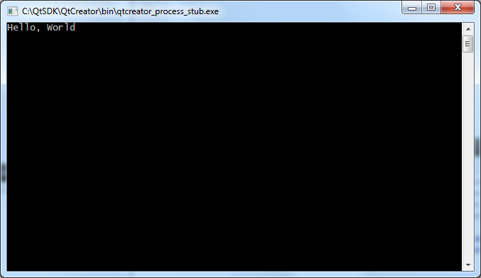 output of the Hello World program