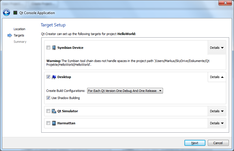 project creation, step 2: build target setup options