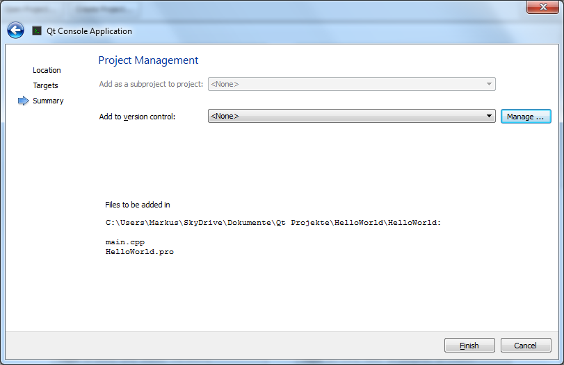 project creation, step 3: depencency and version control options