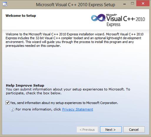 Microsoft Visual C++ 2010 Express setup start dialog