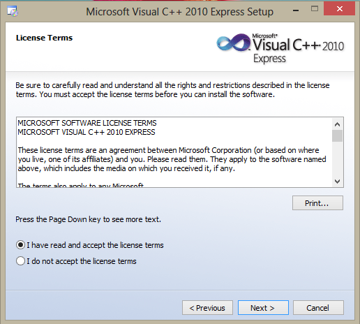 Screenshot of additional selection of SQL Server 2008 Express installation during Visual C++ 2010 Express installation procedure