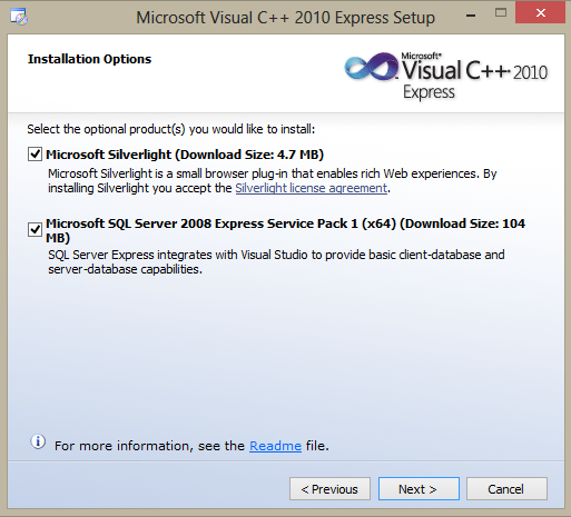 Microsoft Visual C++ Express installation Silverlight and SQL server options