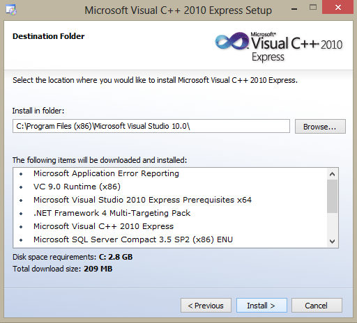 Microsoft Visual C++ 2010 Express installation location selection