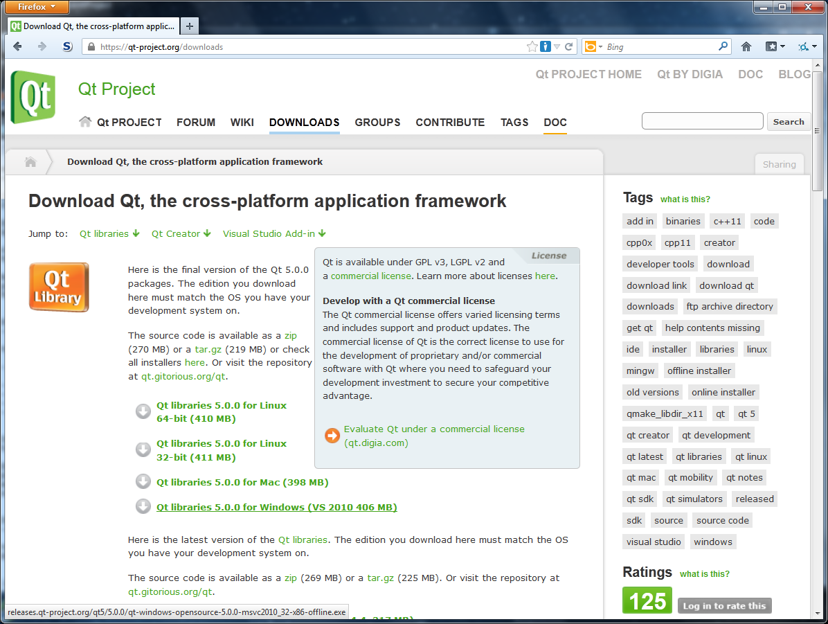 Qt software download page
