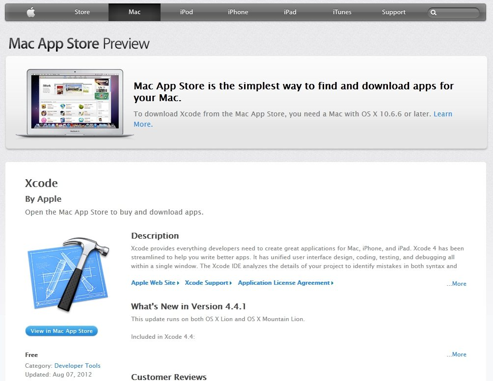 Screenshot of Apple Xcode web page with link to Mac App store