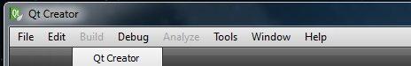 Qt Creator main menu bar