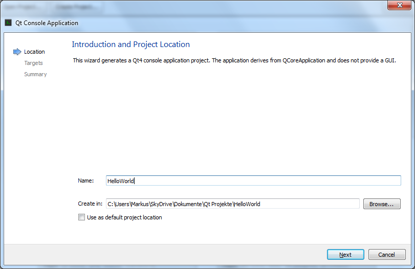 project creation, step 1: entering a name and the path for the project files